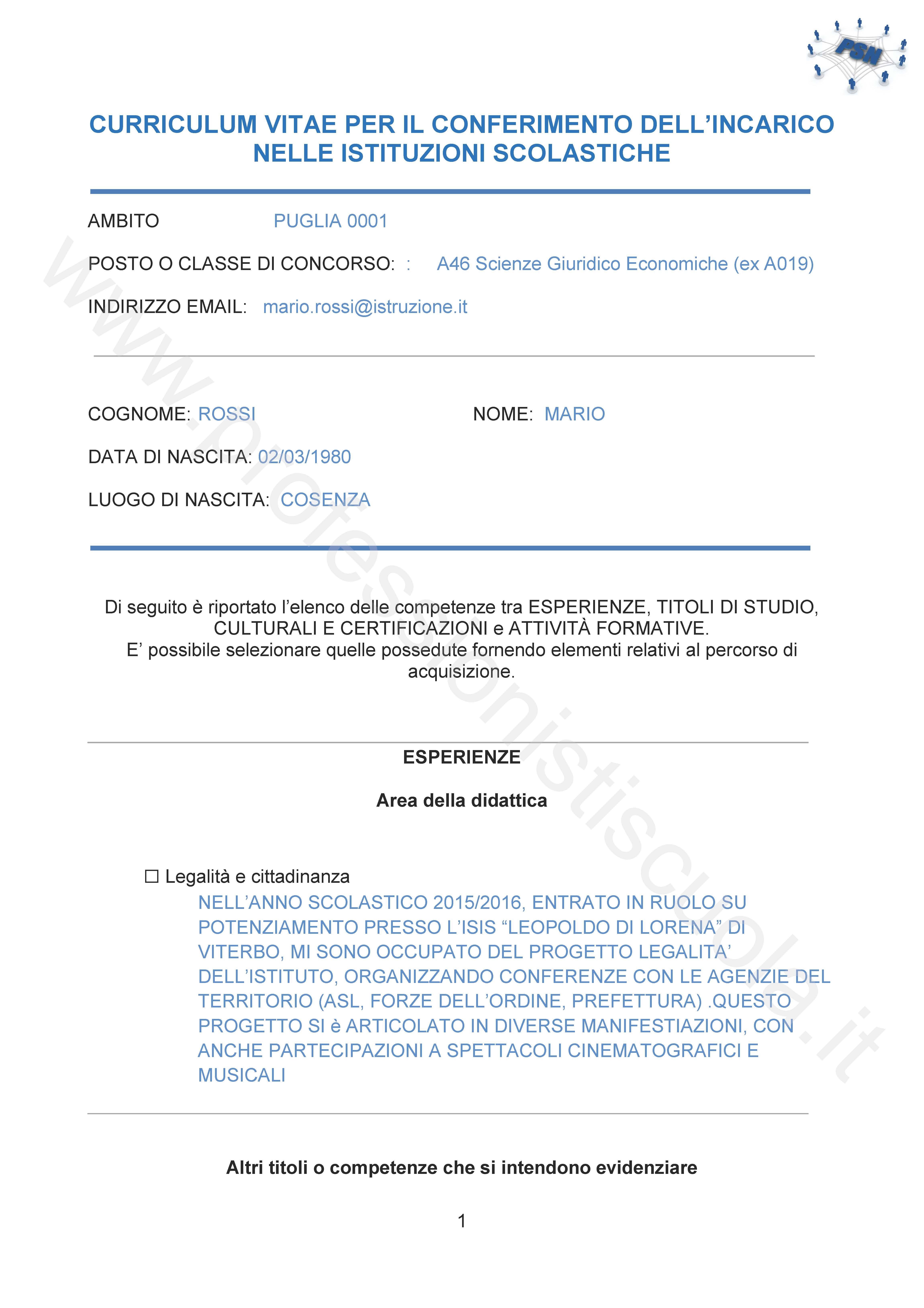 Curriculum Vitae Europeo Esempio Compilato Docente Quality Essay