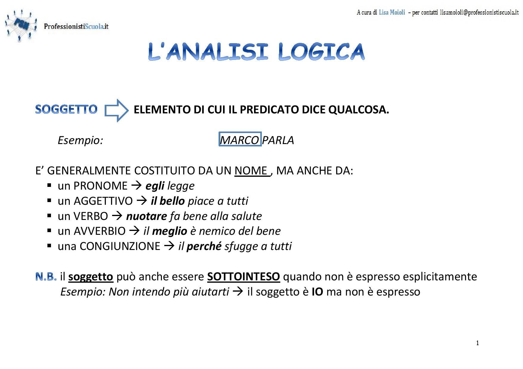 Analisi Logica Soggetto E Predicato Professionisti Scuola
