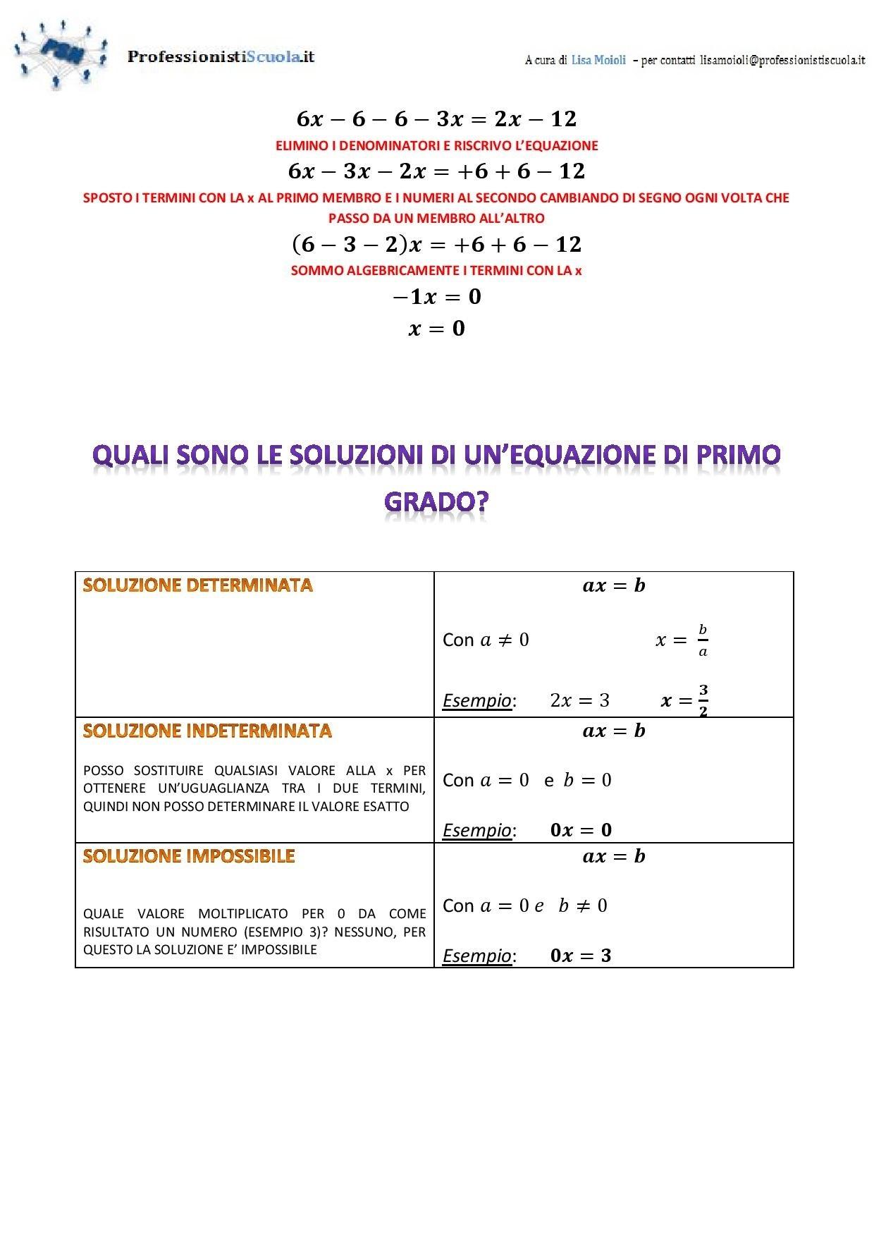 Risolviamo le equazioni di primo grado professionisti scuola - Tavola di tracciamento secondo grado ...