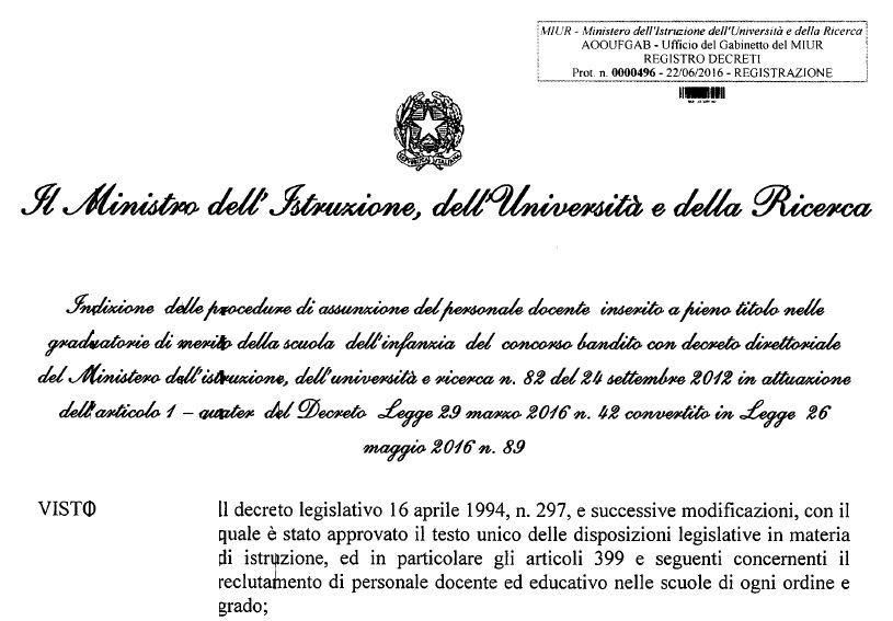 Decreto immissione Gm 2016 17